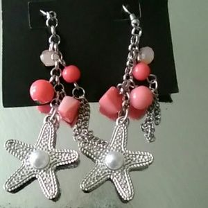Summer coral color star earrings